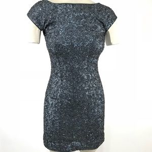 Alice Olivia Dress Sequin Mini Sheath Cap Sleeve